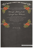 Quaker Marriage Certificate - Folk Garland (chalkboard charcoal/red flowers)