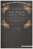 Quaker Marriage Certificate - Folk Garland (chalkboard charcoal/tea pink flowers)