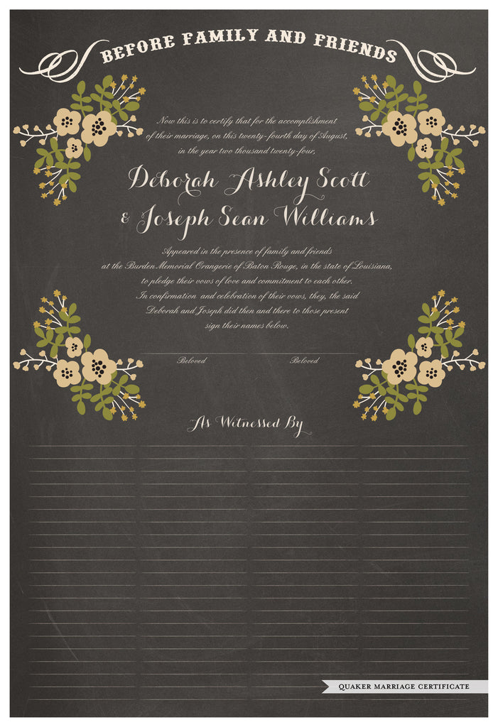 Quaker Marriage Certificate - Folk Garland (chalkboard charcoal/vanilla flowers)