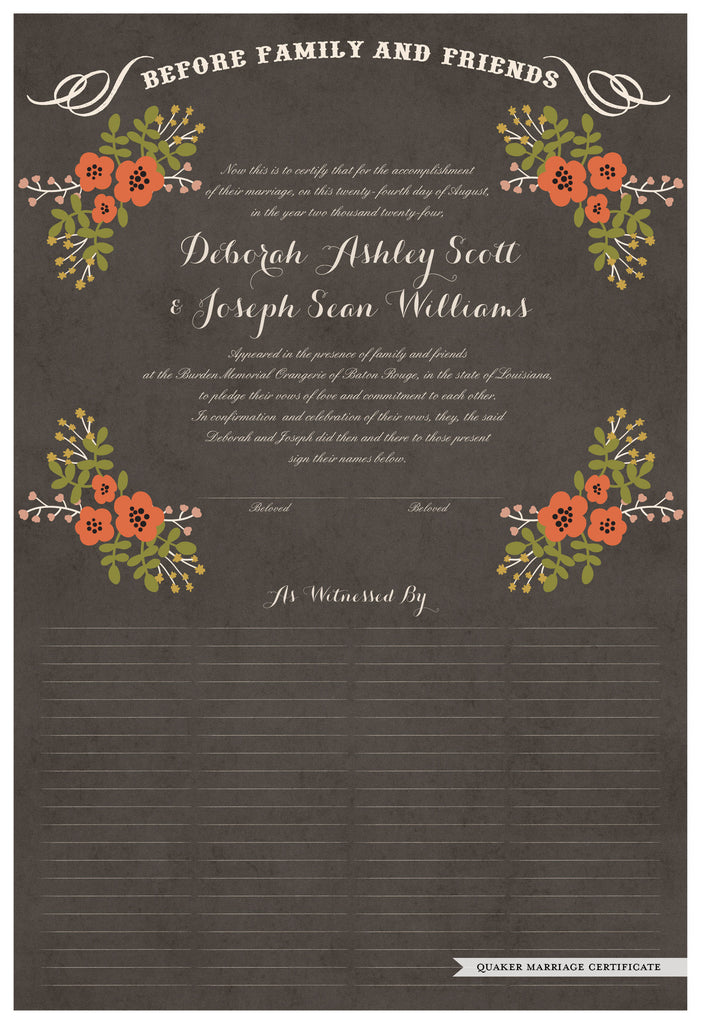 Quaker Marriage Certificate - Folk Garland (parchment charcoal/red flowers)