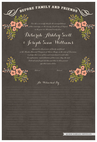 Quaker Marriage Certificate - Folk Garland (parchment charcoal/tea pink flowers)