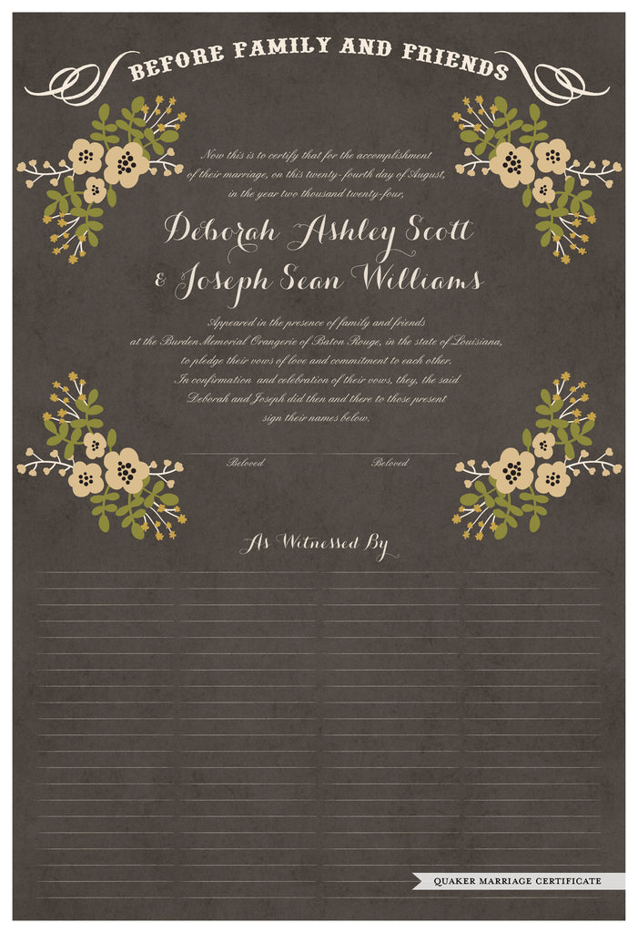 Quaker Marriage Certificate - Folk Garland (parchment charcoal/vanilla flowers)