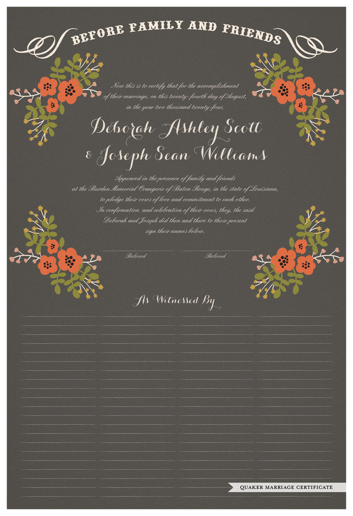 Quaker Marriage Certificate - Folk Garland (charcoal/red flowers)