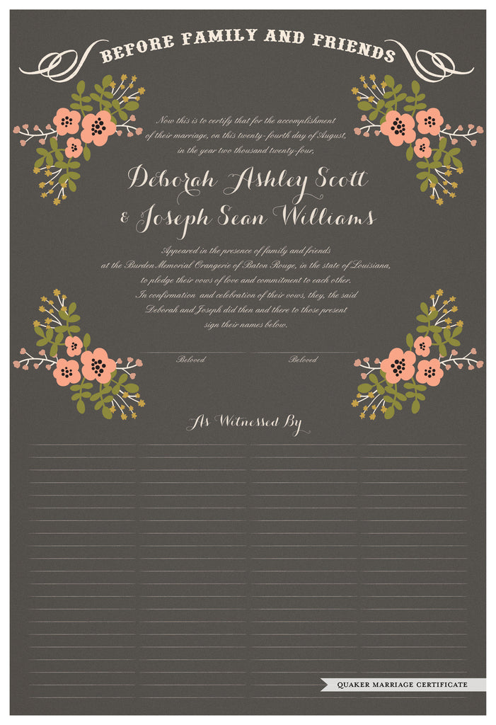 Quaker Marriage Certificate - Folk Garland (charcoal/tea pink flowers)