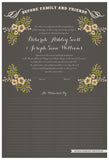 Quaker Marriage Certificate - Folk Garland (charcoal/vanilla flowers)