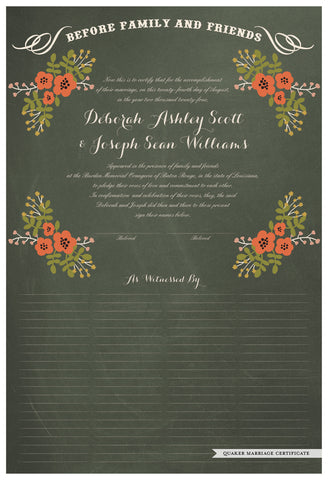 Quaker Marriage Certificate - Folk Garland (chalkboard moss/red flowers)