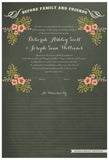 Quaker Marriage Certificate - Folk Garland (chalkboard moss/tea pink flowers)