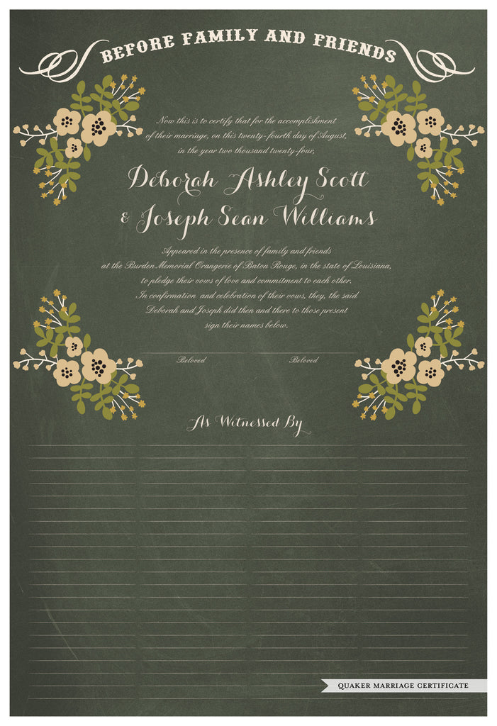 Quaker Marriage Certificate - Folk Garland (chalkboard moss/vanilla flowers)
