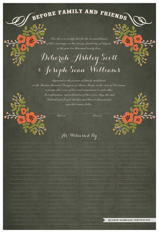 Quaker Marriage Certificate - Folk Garland (parchment moss/red flowers)