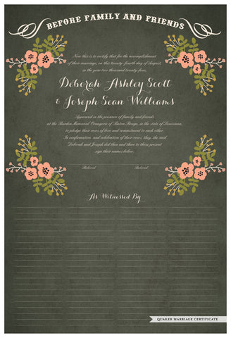 Quaker Marriage Certificate - Folk Garland (parchment moss/tea pink flowers)