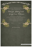 Quaker Marriage Certificate - Folk Garland (parchment moss/vanilla flowers)