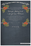 Quaker Marriage Certificate - Folk Garland (chalkboard slate blue/red flowers)