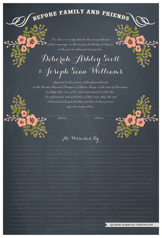 Quaker Marriage Certificate - Folk Garland (chalkboard slate blue/tea pink flowers)