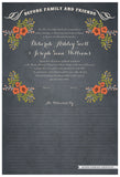 Quaker Marriage Certificate - Folk Garland (parchment slate blue/red flowers)