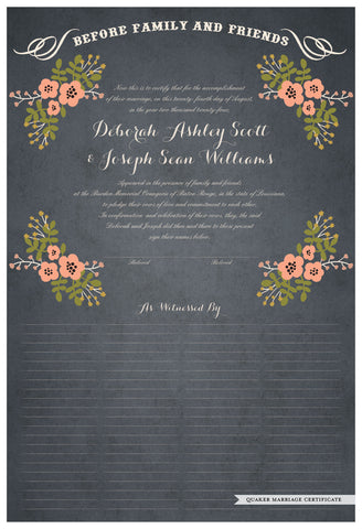 Quaker Marriage Certificate - Folk Garland (parchment slate blue/tea pink flowers)