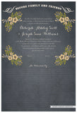 Quaker Marriage Certificate - Folk Garland (parchment slate blue/vanilla flowers)