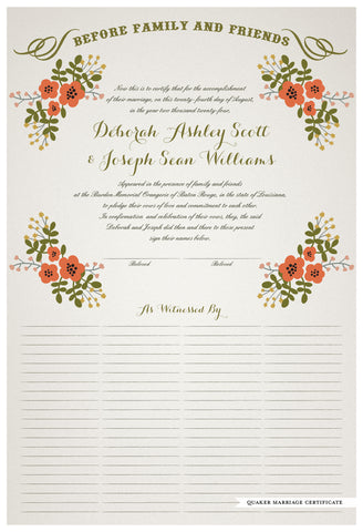 Quaker Marriage Certificate - Folk Garland (ascot gray/red flowers)
