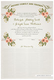 Quaker Marriage Certificate - Folk Garland (ascot gray/tea pink flowers)
