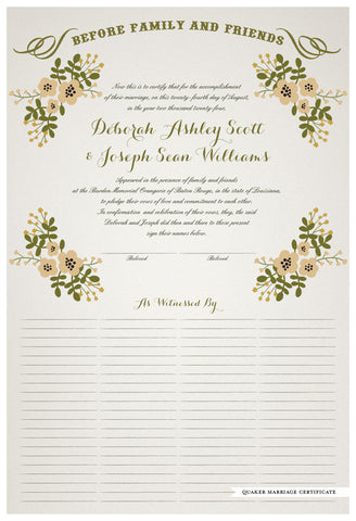 Quaker Marriage Certificate - Folk Garland (ascot gray/vanilla flowers)