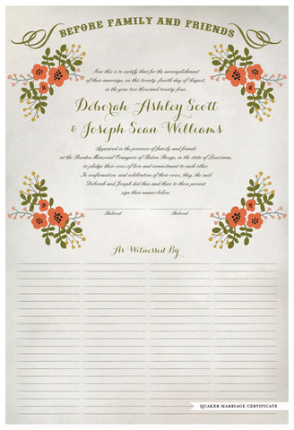 Marriage Certificate - Folk Garland (watercolor ascot gray/red flowers)