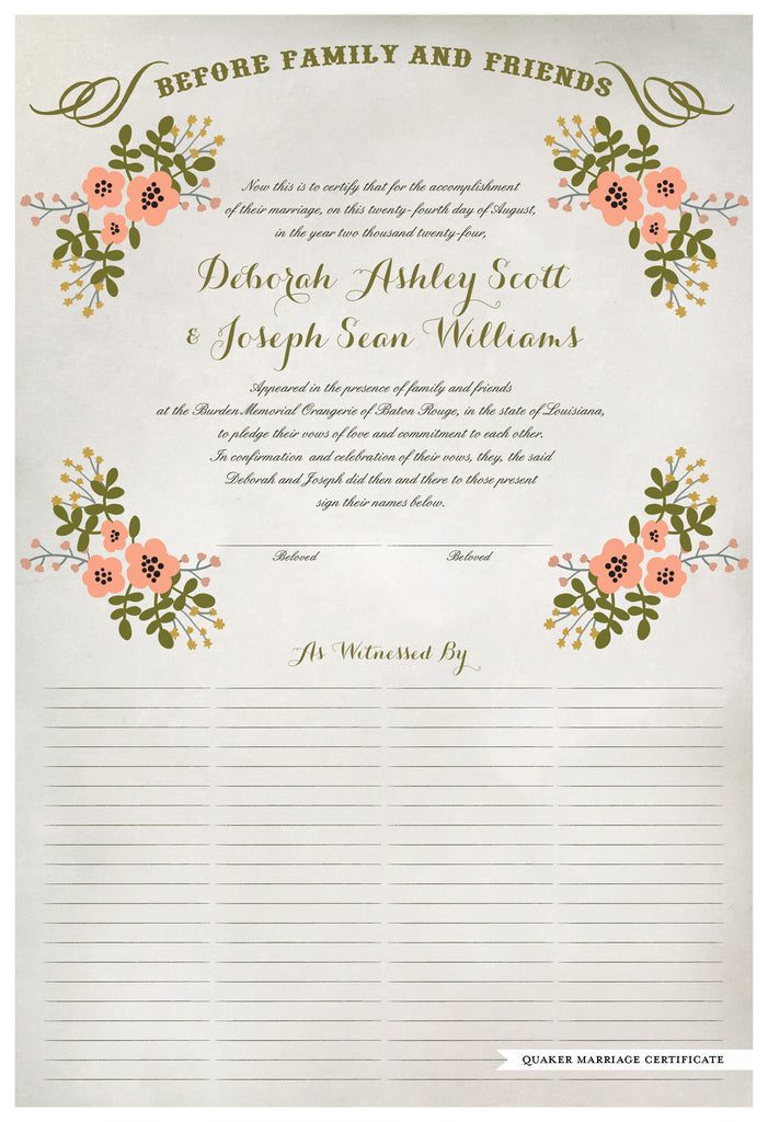 Marriage Certificate - Folk Garland (watercolor ascot gray/tea pink flowers)