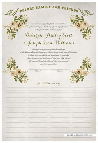 Marriage Certificate - Folk Garland (watercolor ascot gray/vanilla flowers)