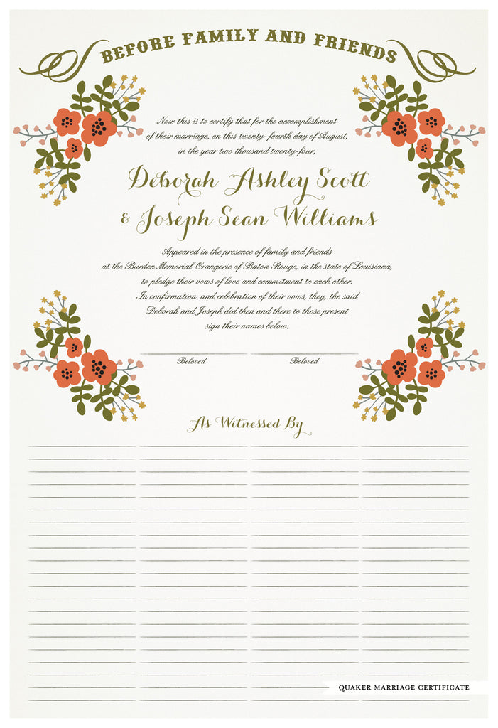 Quaker Marriage Certificate - Folk Garland (eggshell/red flowers)