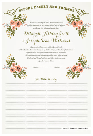 Quaker Marriage Certificate - Folk Garland (eggshell/tea pink flowers)