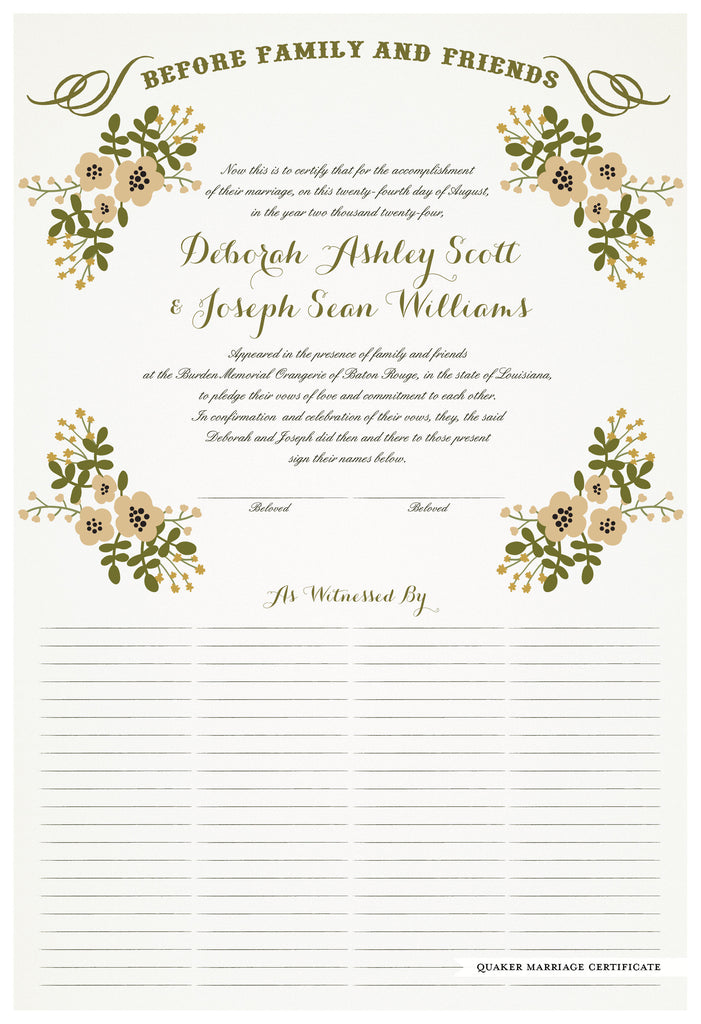 Quaker Marriage Certificate - Folk Garland (eggshell/vanilla flowers)