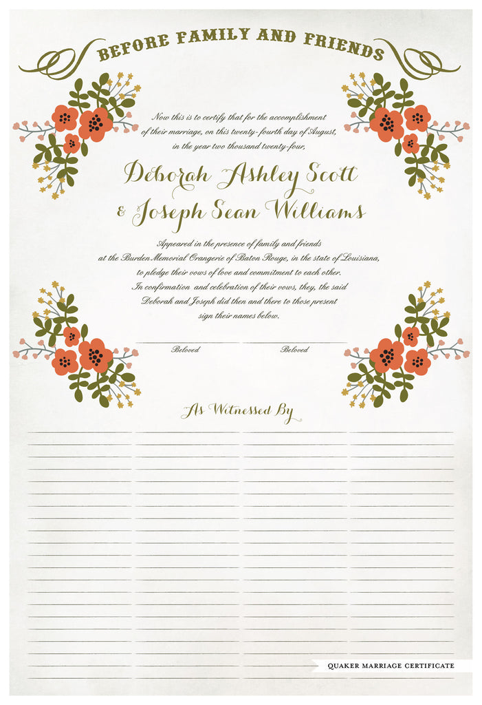 Marriage Certificate - Folk Garland (watercolor eggshell/red flowers)