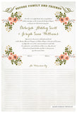 Marriage Certificate - Folk Garland (watercolor eggshell/tea pink flowers)