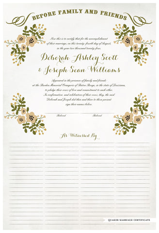 Marriage Certificate - Folk Garland (watercolor eggshell/vanilla flowers)