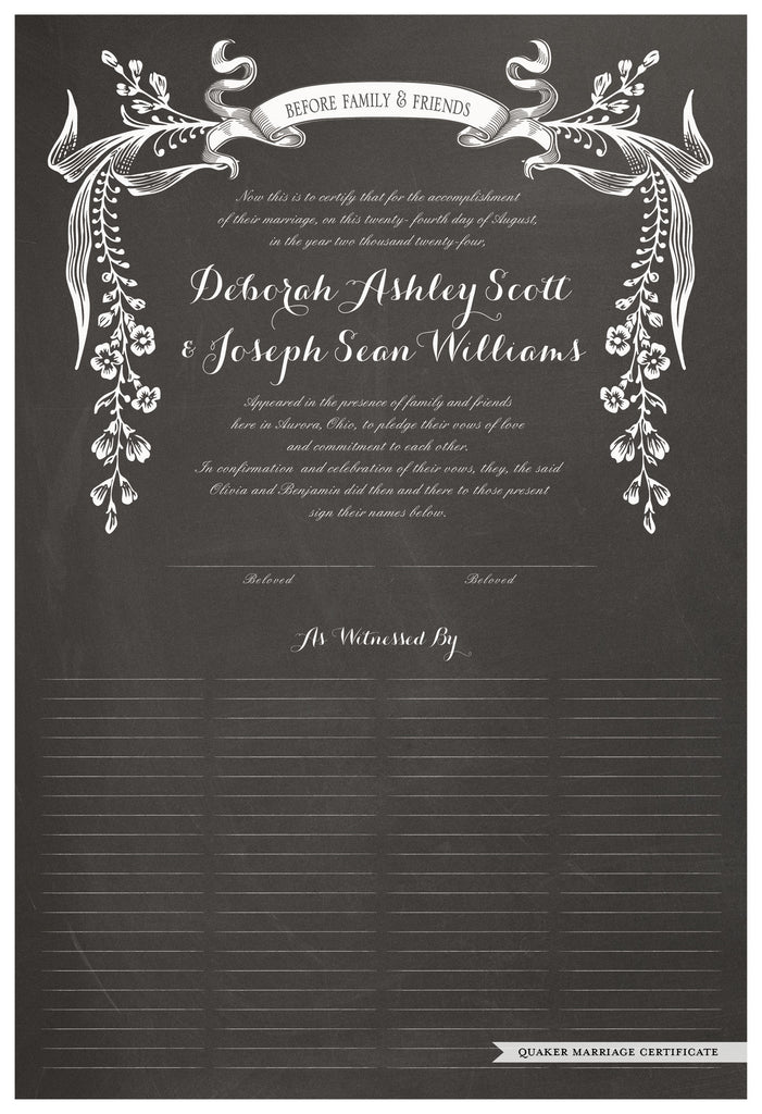 Quaker Marriage Certificate - Wild Flowers (chalkboard charcoal)