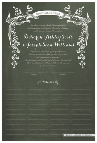 Quaker Marriage Certificate - Wild Flowers (chalkboard moss)