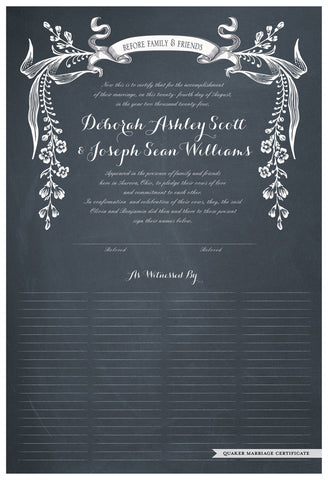 Quaker Marriage Certificate - Wild Flowers (chalkboard slate blue)