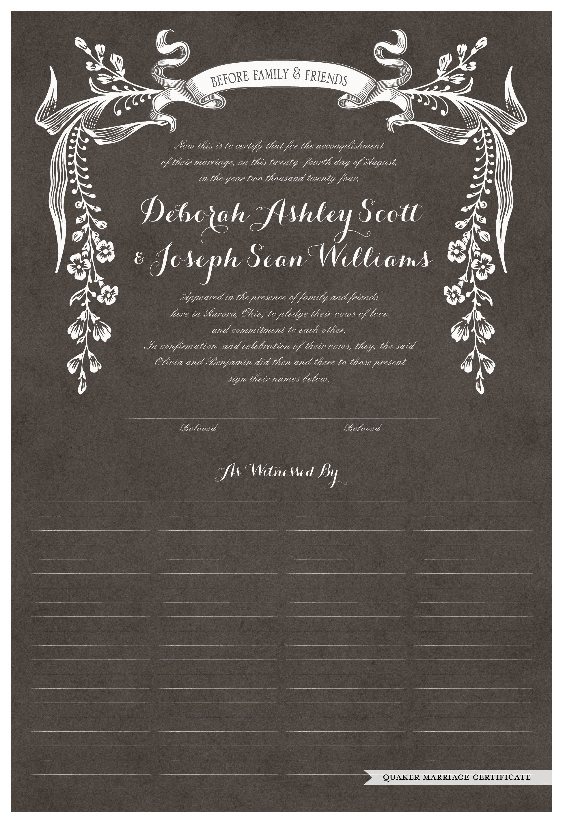parchment charcoal Wild Flowers Quaker Marriage Certificate and Wedding Certificate