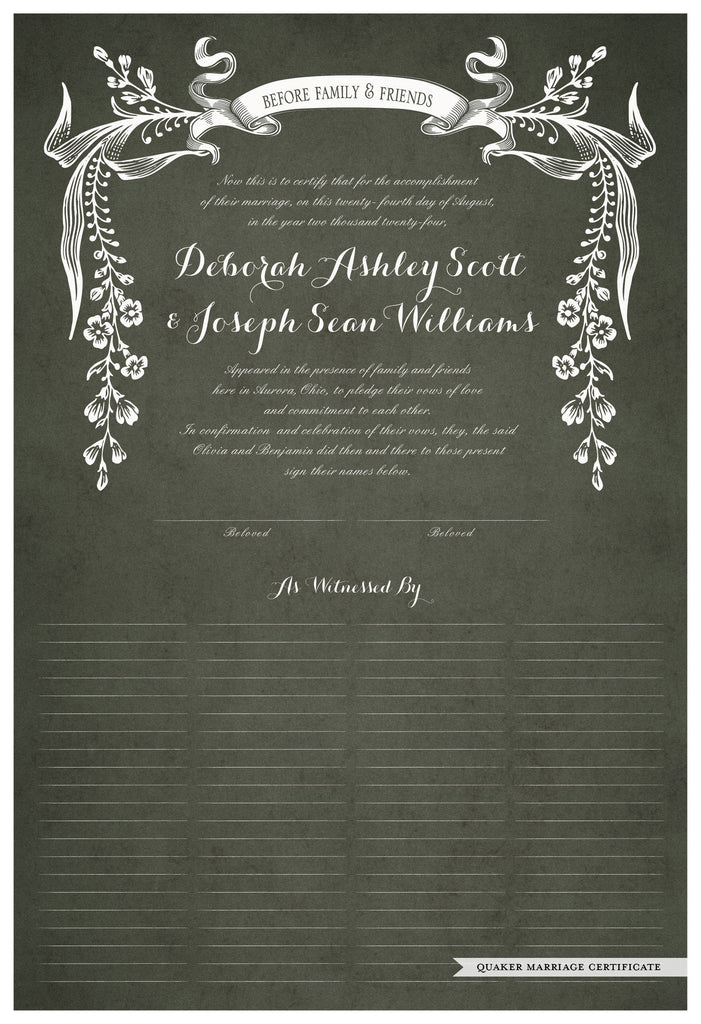 Quaker Marriage Certificate - Wild Flowers (parchment moss)