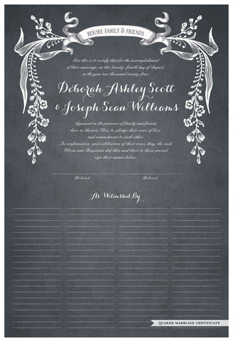 Quaker Marriage Certificate - Wild Flowers (parchment slate blue)
