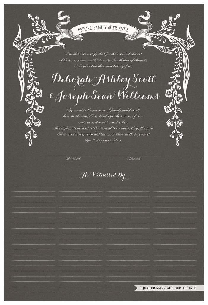 Quaker Marriage Certificate - Wild Flowers (charcoal)