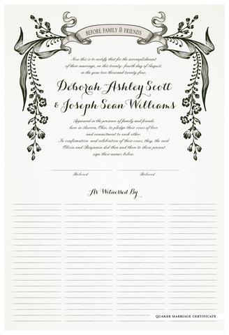 Quaker Marriage Certificate - Wild Flowers (eggshell)