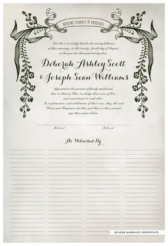 Quaker Marriage Certificate - Wild Flowers (watercolor ascot gray)