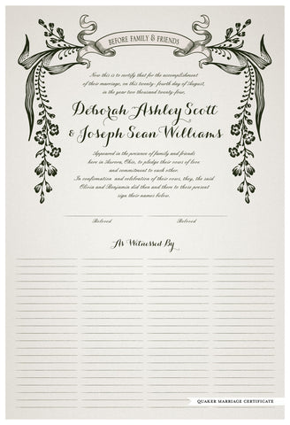 Quaker Marriage Certificate - Wild Flowers (ascot gray)