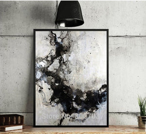 Handmade thick knife high quality Modern Abstract Fine Artwork Canvas Black and white ink Bedroom artwork Wall Oil Painting