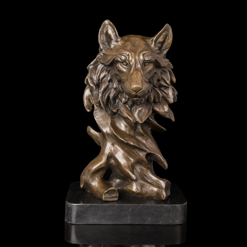 Modern Sculpture  High Quality Bronze sculptures Wolf  Heads statue Artwork Office and Hotel Decor