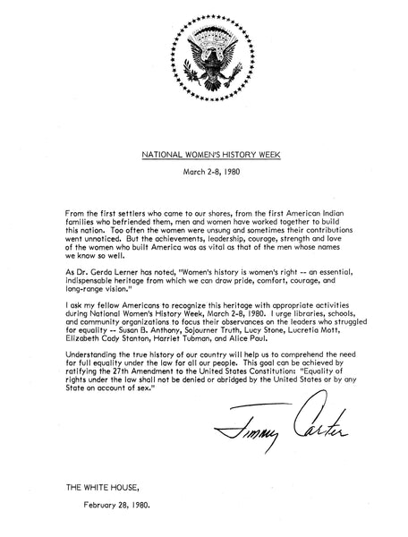 Official letter signing National Women's History Week into history
