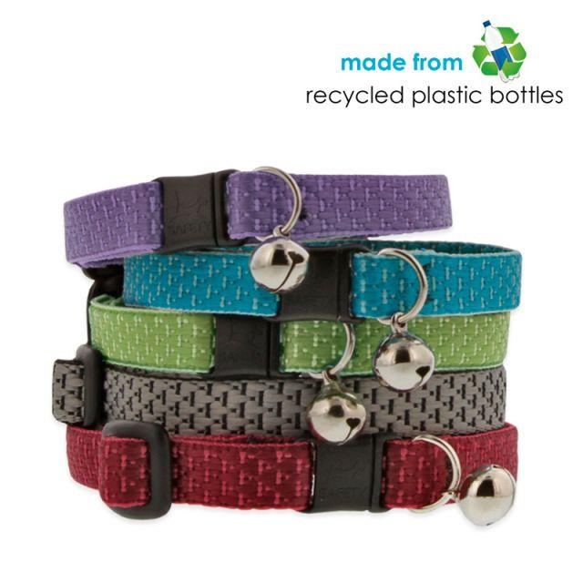 stack of cat collars with silver bells, top to bottom colors include purple, teal, green, granite, and berry