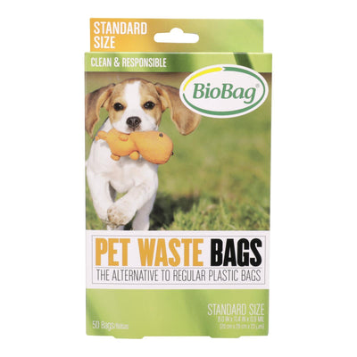 pet waste bags packaging, green cardboard with bio bag logo and dog playing with toy