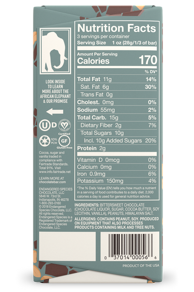 nutritional facts of 3oz endangered species dark chocolate bar with salted peanuts