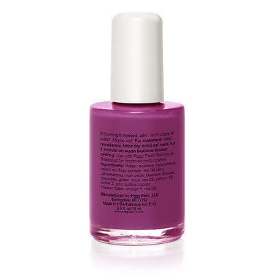 reverse of 0.5 fl oz purple piggy paint nail polish bottle with white lid, instructions, warnings, ingredients included