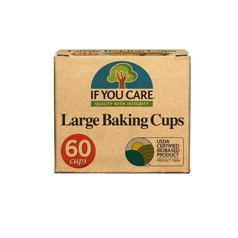 large baking cups package, 60 cups, with usda certified biobased product seal